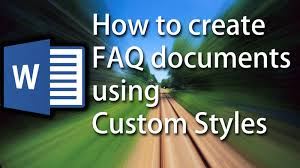 Faq Word Tutorial How To Automatically Format Faq Documents Using