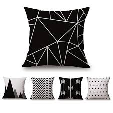 taie d oreiller pour canapé noir blanc moderne housse de coussin pour canapé coton é