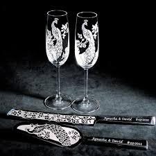 personalized wedding serving sets peacock wedding cake server and knife chagne flute set
