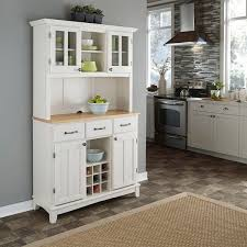 homestyles com white hutch buffet with wood top by home styles free shipping