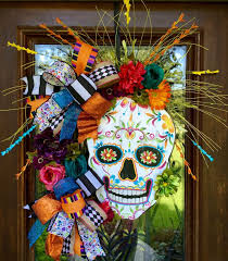 day of the dead sugar skull wreath loaded with color for