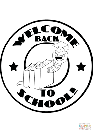 mascot bookworm with text back to coloring page free