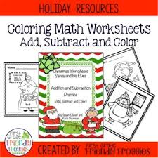 addition and subtraction christmas math coloring sheets tpt