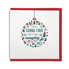 naughty or nice geordie christmas card u2013 geordie gifts