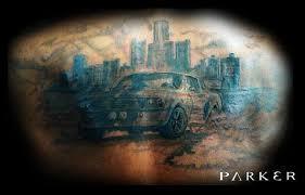 mustang tattoo detroit skyline by mattparkertattoo on deviantart