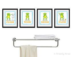Kids Bathroom Decor Sets Frog Bathroom Decor Set Of Four Bathroom Decor Prints Frog