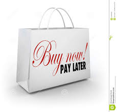 buy now pay later words shopping bag credit financing offer deal