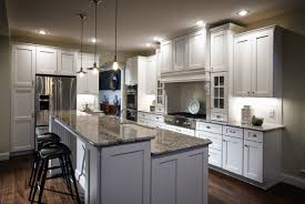 Small Kitchen With Island Design Ideas White Wooden Kitchen Island With Gray Marble Counter Top And White
