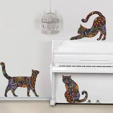 my wonderful walls cat wall sticker trio set of 3 stickers repositionable cat wall decals in flower