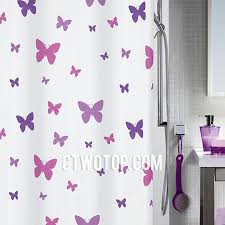 White And Purple Curtains Purple And White Butterfly Waterproof Cute Beautiful Shower Curtains