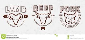 butchery logos labels farm animals icons and design elements