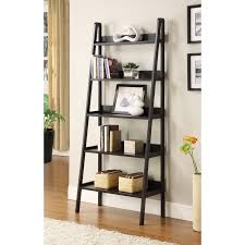 contemporary black leaning ladder shelf bookcase leaning ladder