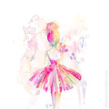 pink ballerina print ballet watercolor painting spatter