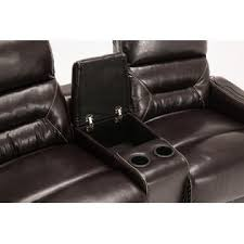 mcombo 4 set leather home theater recliner media sofa with cup