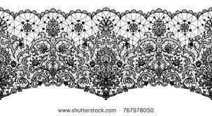 lace ribbon black lace ribbon isolated on white stock vector 767978050