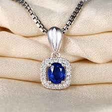natural sapphire necklace images Lady luxurious 0 75ct real natural sri lanka blue sapphire pendant jpg