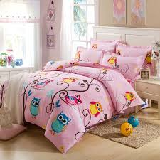 Girls Queen Size Bedding Sets by Pink And Colorful Nature Night Owl Print Jungle Animal 100 Cotton