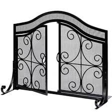 fireplace screen with doors flat guard fire screens outdoor large metal decorative mesh solid baby safety proof fench wood burning stove accessories wrought