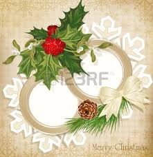 vector vintage christmas background with sprig of european holly