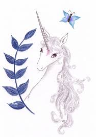 white unicorn with big blue ink branch and tiny flying
