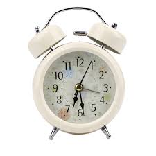 mechanical desk clock table clock round metal alarm clock mechanical retro double bell