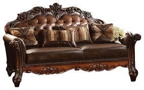 traditional sofa acme vendome stationary sofa with 3 pillows cherry traditional