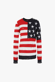American Flag Design Ripped Wool Sweater With American Flag Design Mens Knitted