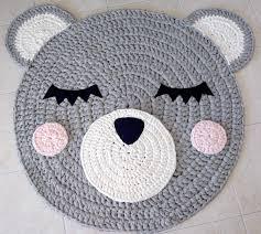 Baby Carpet Bear Crochet Rug Bear Rug Handmade Rug Kids Rug Corchet