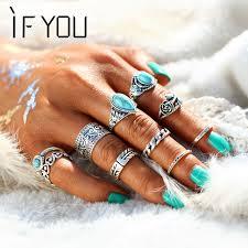 midi ring set if you 10pcs set retro flower midi ring set for women vintage