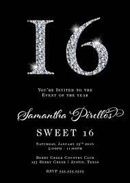 sweet 16 rhinestones invitation
