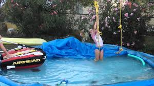 zipline into pool youtube