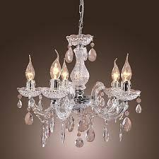Chandelier Acrylic New Upligh Chrome Ceiling Lamp 5 Candle Light Acrylic Fixture