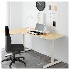 corner office desk ikea bekant corner desk left sit stand birch veneer white 160x110 cm ikea