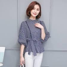 blouse wanita clothing uninice baru blus kemeja wanita biru hitam applique