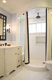 Bathrooms With Shower Curtains Shower Niches Bathroom Traditional With Bathroom Mirror Black And