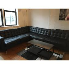 Black Sofa Bed Ikea Landskrona Black Faux Leather Sectional Sofa Aptdeco