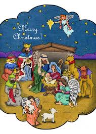 a nativity merry cards drawing by batalka
