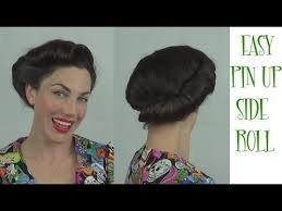 easy pinup hairstyle side roll vintage retro updo youtube