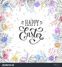 easter frame easter eggs hand drawn stock vector 387371521
