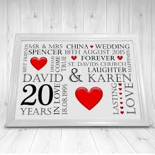 20th wedding anniversary gifts personalised china 20th wedding anniversary gift print a4 cl