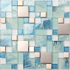 Blue Glass Tile Bathroom - blue glass mosaic sheets stainless steel backsplash crackle