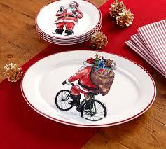 painted platter painted santa claus serving platter pottery barn