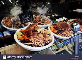 cuisine malo seafood for sale at st malo in stock photo