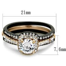 his and hers engagement rings his hers 4 pc black gold stainless steel