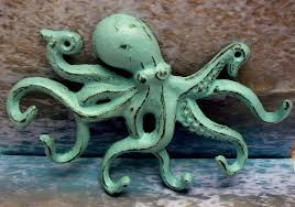 Marine Home Decor Octopus Cast Iron Tentacle Wall Hook Blue Shabby Chic Cottage Chic