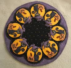 spooky halloween penny rug candle mat instant download