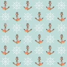 anchor wrapping paper floral anchor and steering wheel seamless pattern nautical theme
