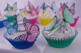Edible Butterfly cupcake toppers 20pc Mixed species 3D rainbow