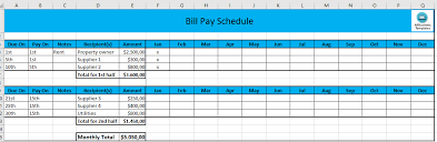 free monthly payment schedule in excel templates at