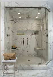 Marble Bathroom Showers White Marble Shower Contemporary Bathroom Detroit By